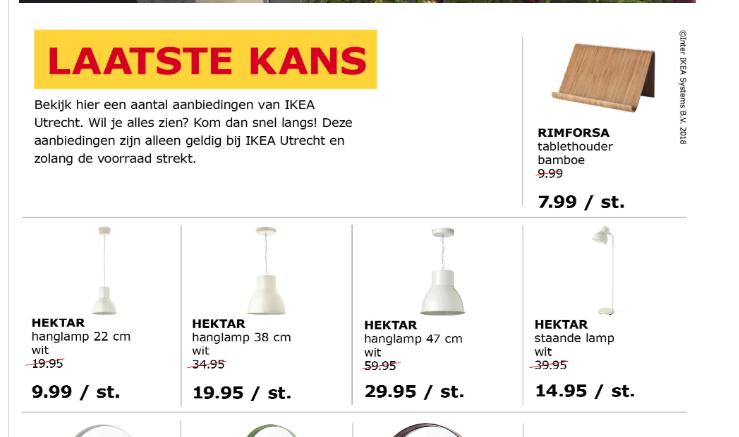 Hektar staande lamp wit van €39,95 naar €14,95 @ IKEA Utrecht (plaatselijk) en meer van de Hektar serie