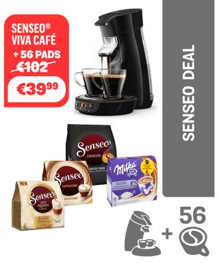 Philips Senseo Viva Café koffiepadmachine HD6563/60 - zwart + 56 pads.