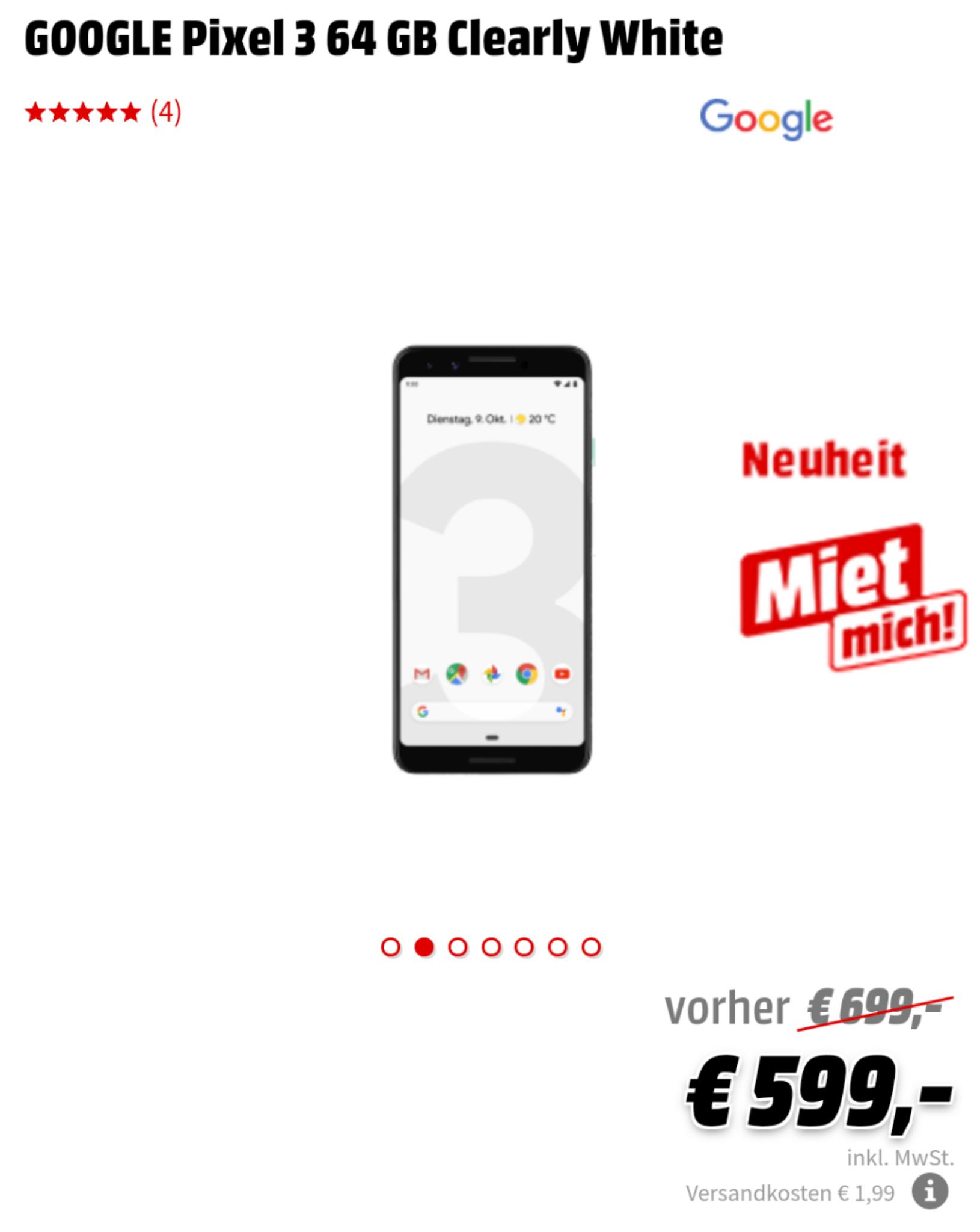 (Grensdeal) Pixel 3 voor €599 bij MediaMarkt Duitsland