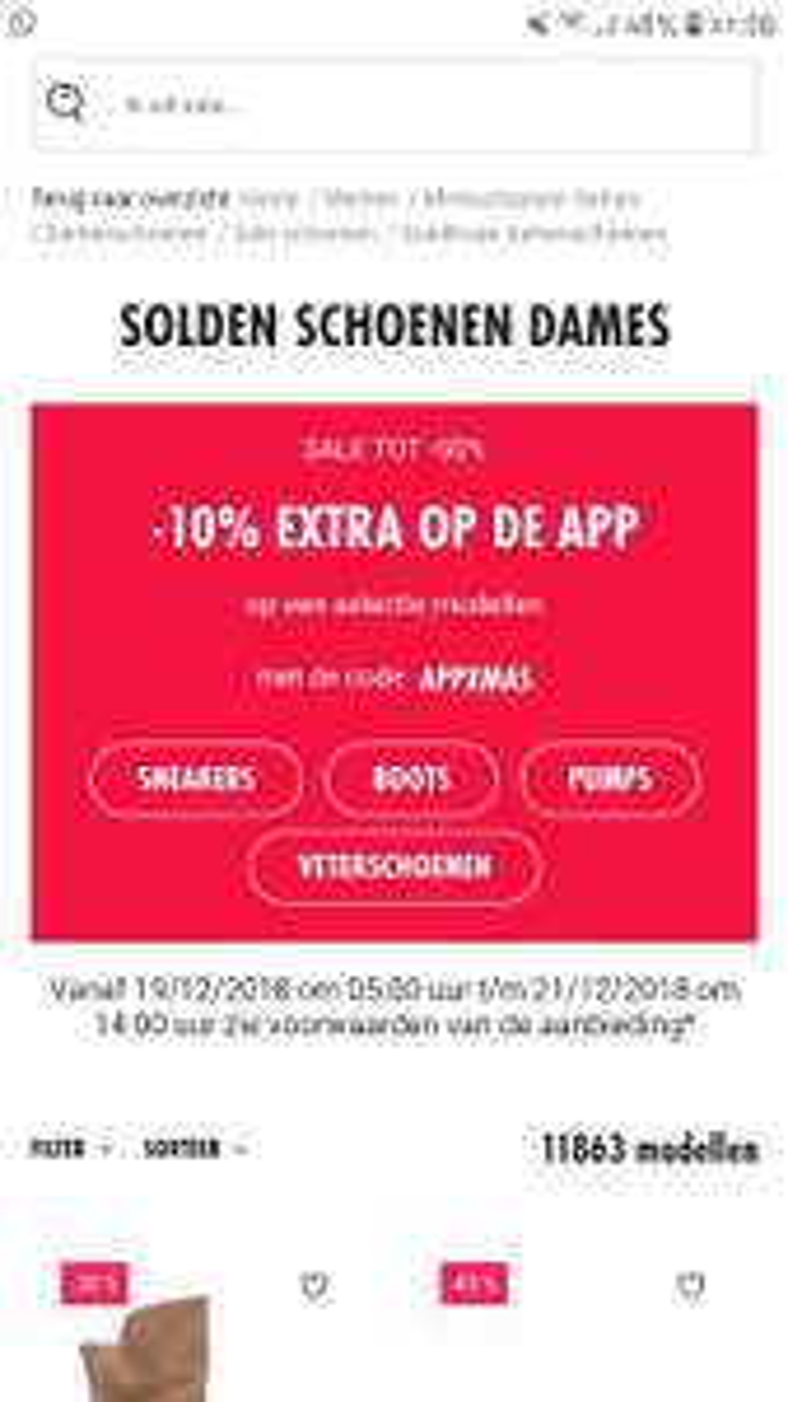 Sarenza Tot 50% korting + 10% met code met de app