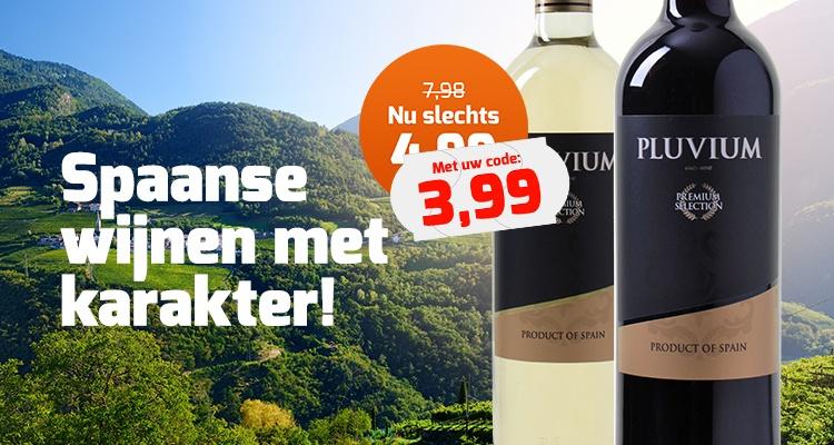 Spaanse Pluvium Premium Selection wijnen met code voor €3,99  @ Wijnvoordeel.nl