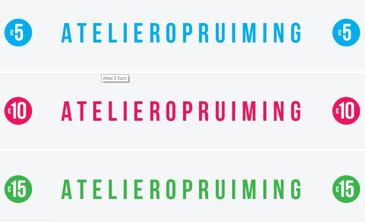 Atelier Opruiming €5 // €10 // €15 @ Je M'Appelle