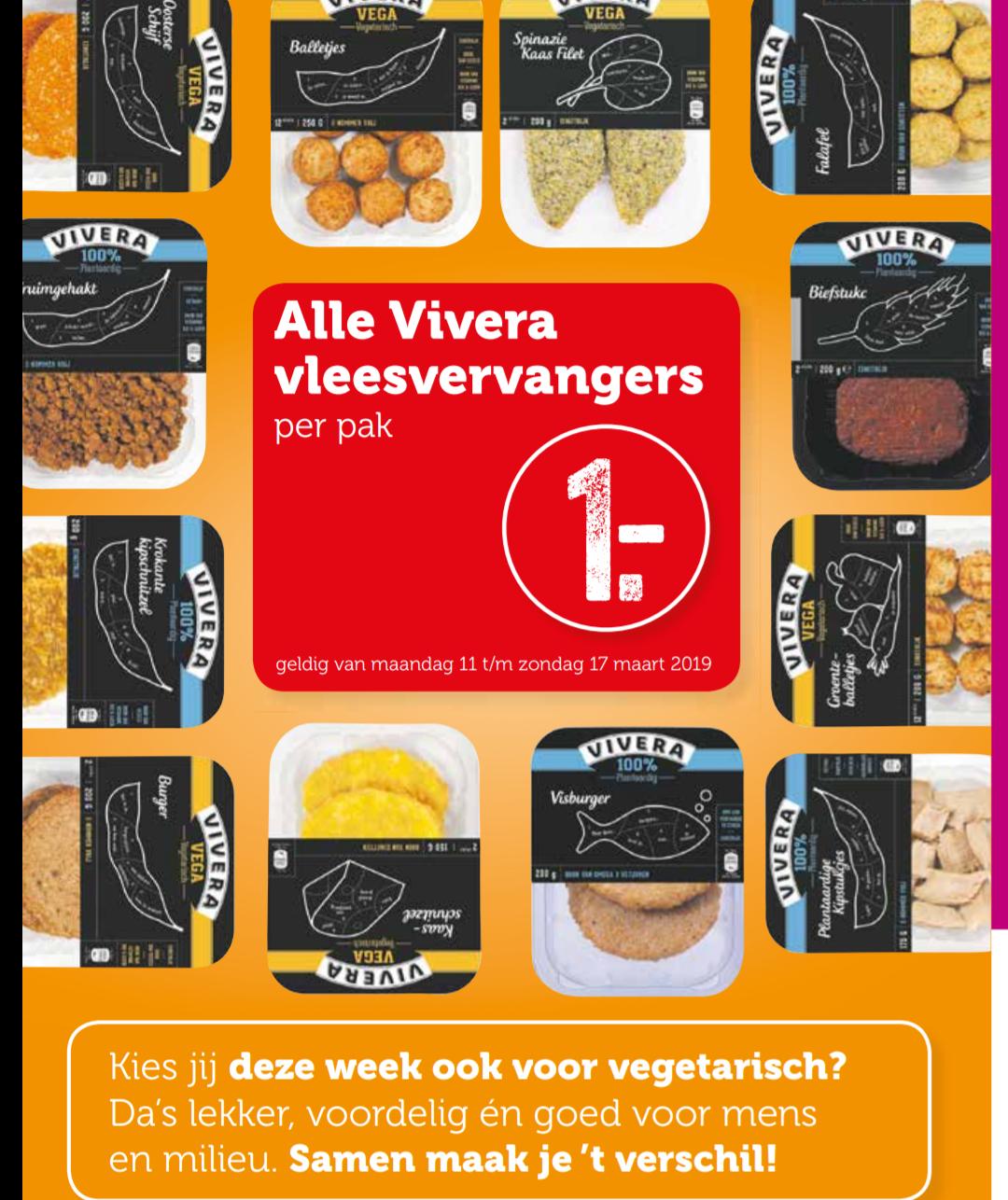 Alle Vivera vleesvervangers €1 bij Coop (Week zonder vlees)