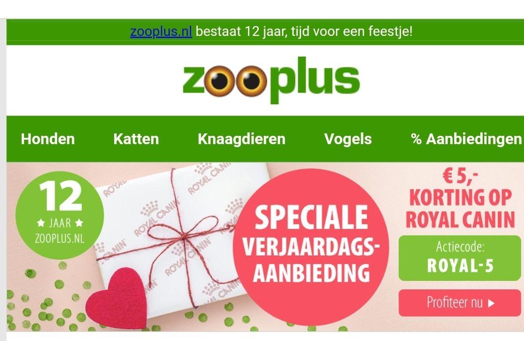 5 euro korting Royal Canin bij Zooplus